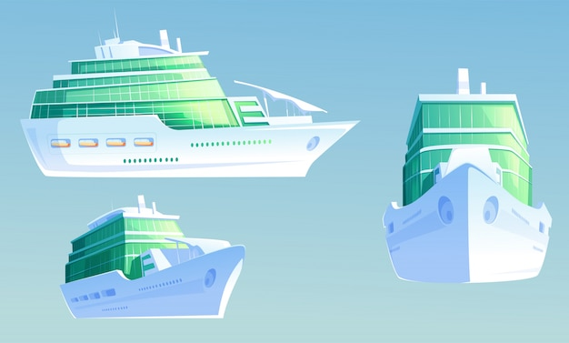 Luxury cruise liner for summer vacation and travel Free Vector