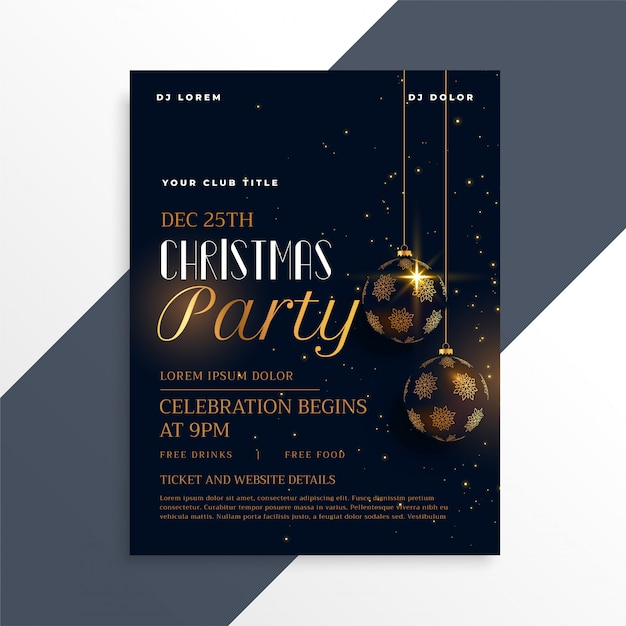 Luxury dark christmas party flyer in gold theme Free Vector
