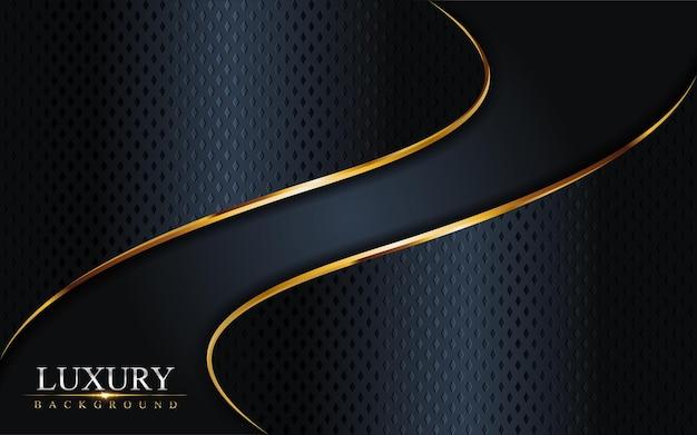 ゴールデンラインの背景と豪華なダークネイビーの組み合わせ。グラフィック要素。 Premiumベクター