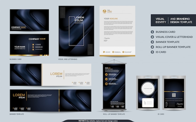 Luxury dark navy stationery set and visual brand identity with abstract overlap layers background Premium Vector