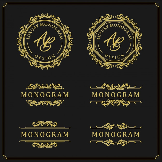 Luxury design set for wedding and decoration Premium Vector