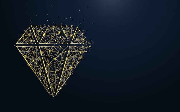 Luxury diamond icon from lines and particle Premium Vector