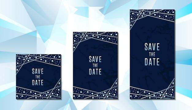 Luxury diamond wedding invitation card template Premium Vector
