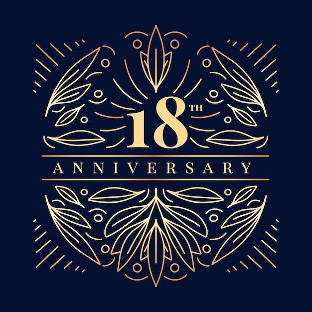 Роскошный логотип восемнадцатой годовщины Бесплатные векторы