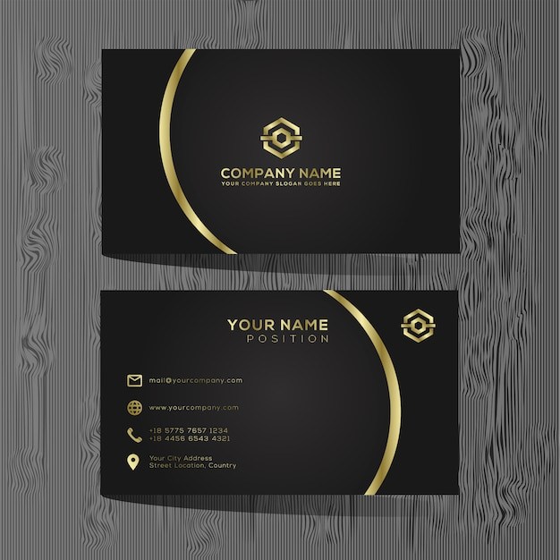 Luxury And Elegant Black Gold Business Cards Template On Black