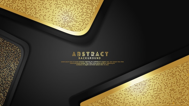 Luxury and elegant gold and black overlap layers background with glitters effect Premium Vector