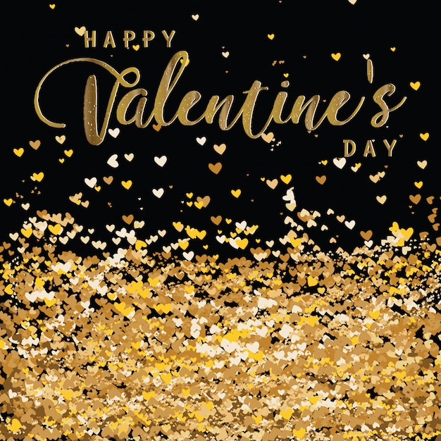 Luxury elegant happy valentine day glitter gold heart Premium Vector