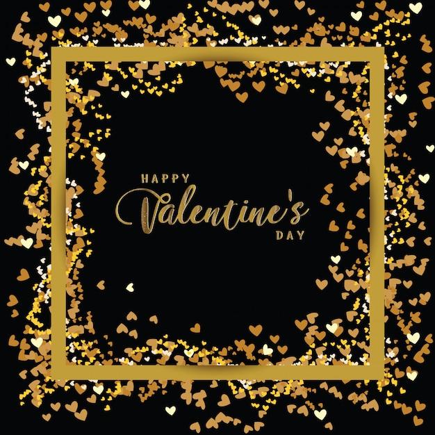 Luxury elegant happy valentine day glitter gold heart Premium Vector