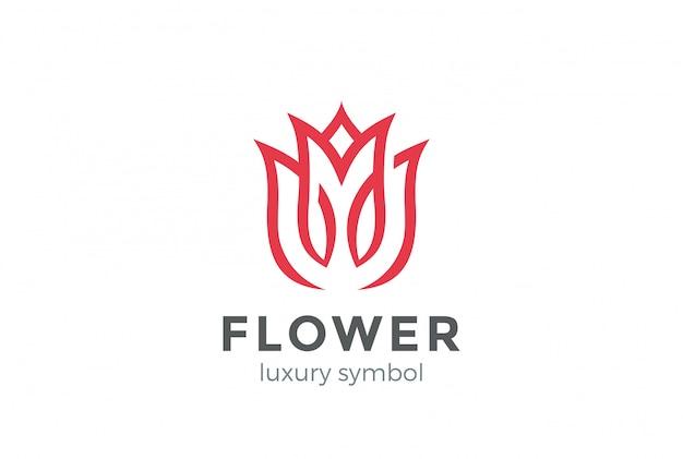 럭셔리 패션 꽃 로고 추상 선형 스타일. 루프 튤립 로즈 라인 로고 타입 디자인 서식 파일 무료 벡터