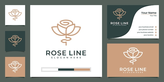 高級ファッションの花のロゴの抽象的な線形スタイル。ループチューリップローズラインロゴタイプデザインテンプレート Premiumベクター