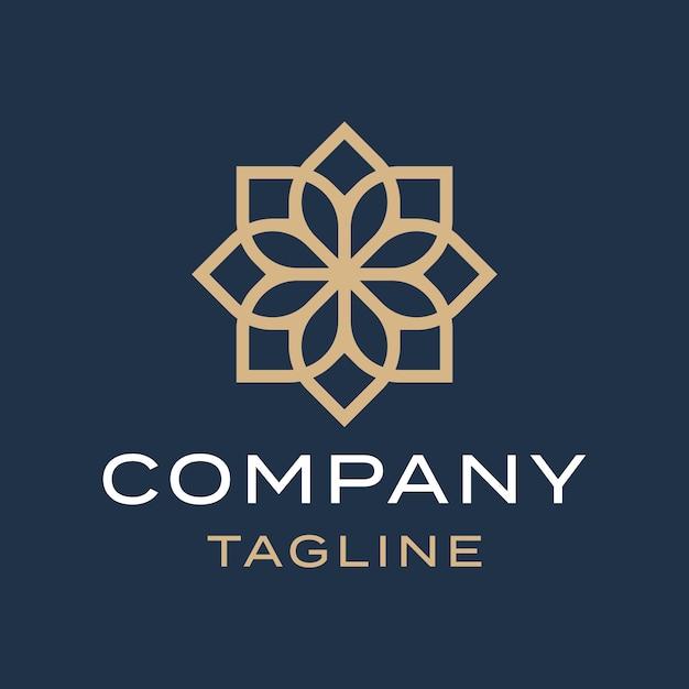豪華なフラット抽象的な花曼荼羅エレガントなゴールドイスラム装飾ロゴデザイン Premiumベクター