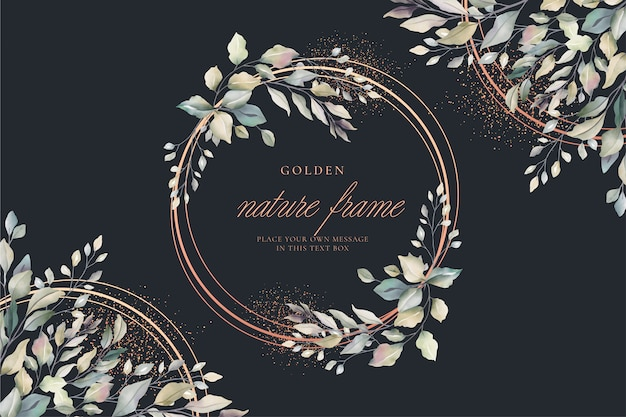 Luxury floral card with golden frame Free Vector