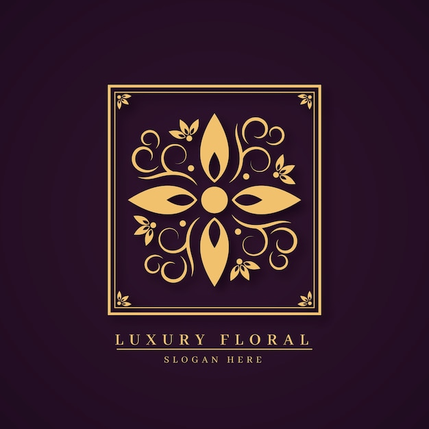 Luxury floral perfume logo concept Premium Vector