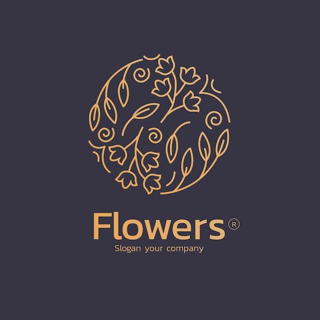 Luxury floral perfume logo Premium Vector