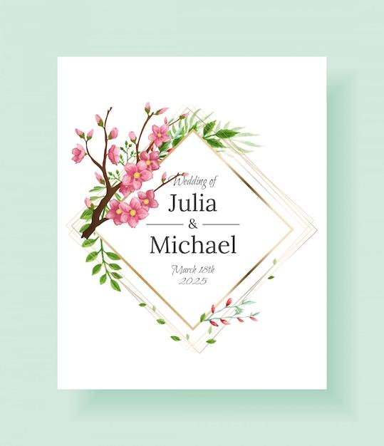 豪華な花の結婚式の招待状のデザインや桜の枝と花のグリーティングカードテンプレート。 Premiumベクター