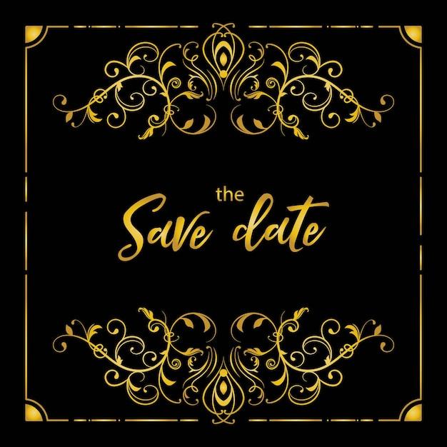 豪華な繁栄の結婚式の招待カード 無料ベクター