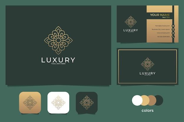 豪華なフラワーラインアートのロゴと名刺 Premiumベクター