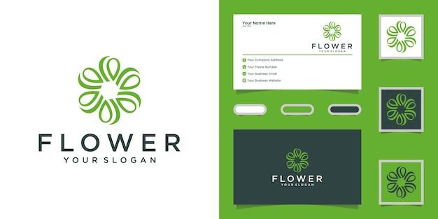 美容、化粧品、ヨガ、スパの豪華な花のロゴ。ロゴデザインと名刺 Premiumベクター