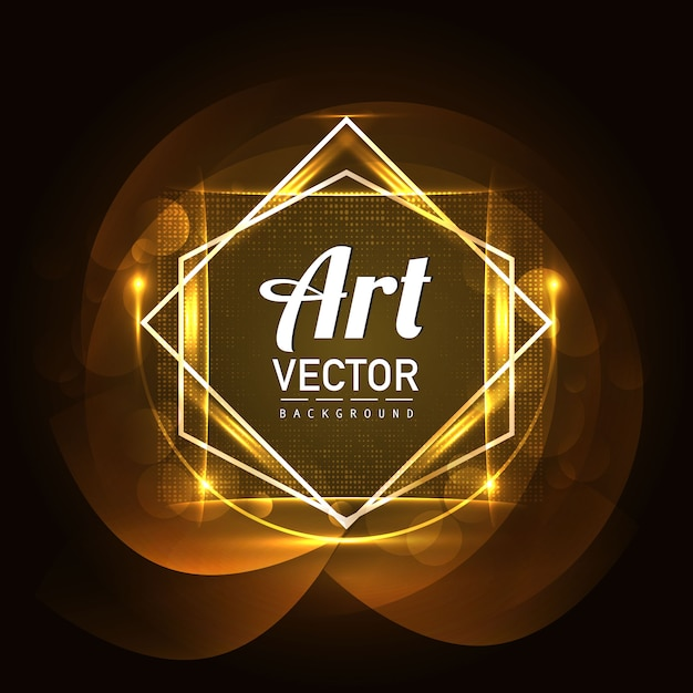 Luxury frame with golden lights background Free Vector