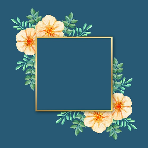Luxury frame with winter flowers Free Vector