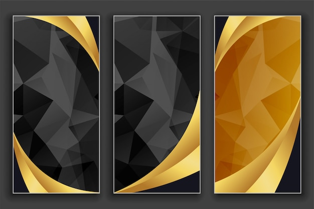 Luxury geometric golden and black banners set Free Vector