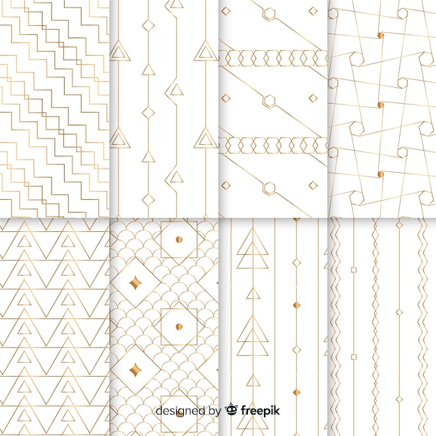 Luxury geometric pattern collection Free Vector