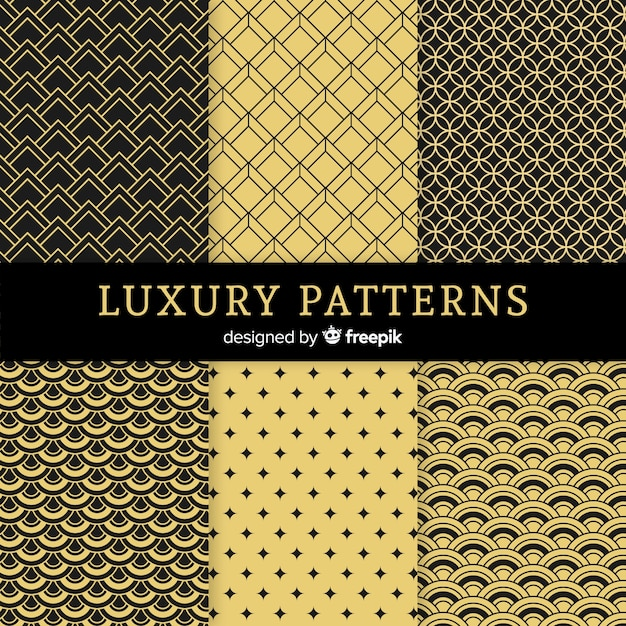 Luxury geometric pattern set Free Vector
