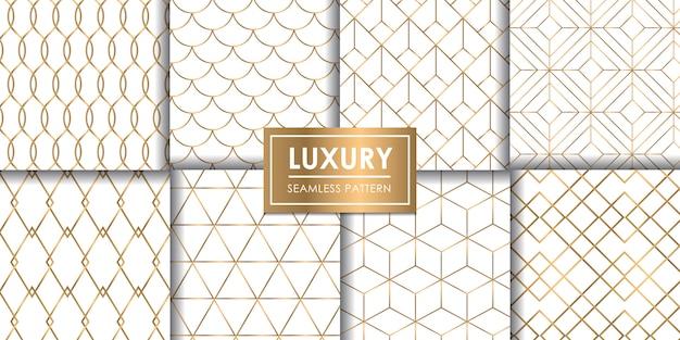 Luxury geometric seamless pattern set, decorative wallpaper. Premium Vector