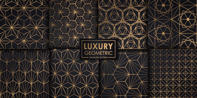 Luxury geometric seamless pattern set Premium Vector