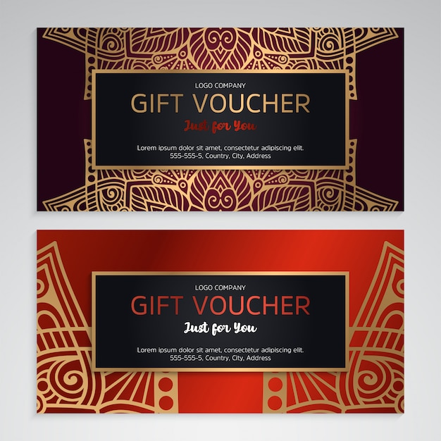 Luxury gift voucher template with ethnic style Free Vector