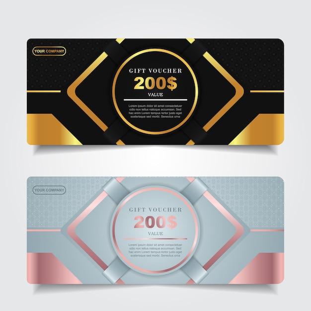 Роскошный подарочный сертификат с темно-синим и золотым декором Premium векторы