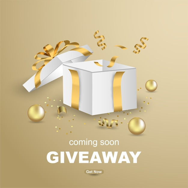 Luxury giveaway banner template design with open gift box. Premium Vector
