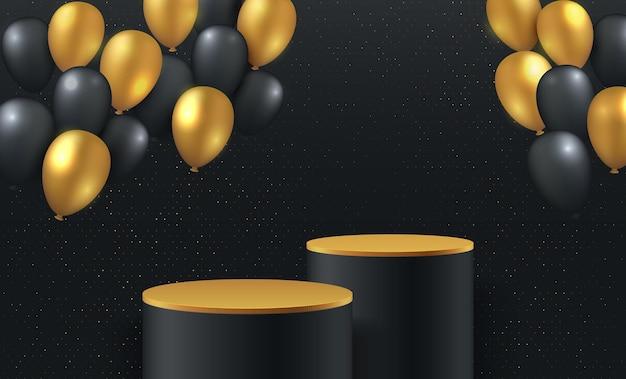 럭셔리 금색과 검은 색 풍선 3d 렌더링 실린더 연단. 황금 연단 플랫폼으로 검은 최소한의 렌더링 된 장면 3d. 프리미엄 벡터