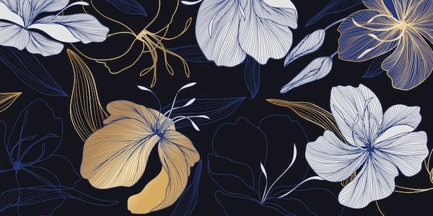 럭셔리 골드와 블루 꽃 무늬 벽지 프리미엄 벡터