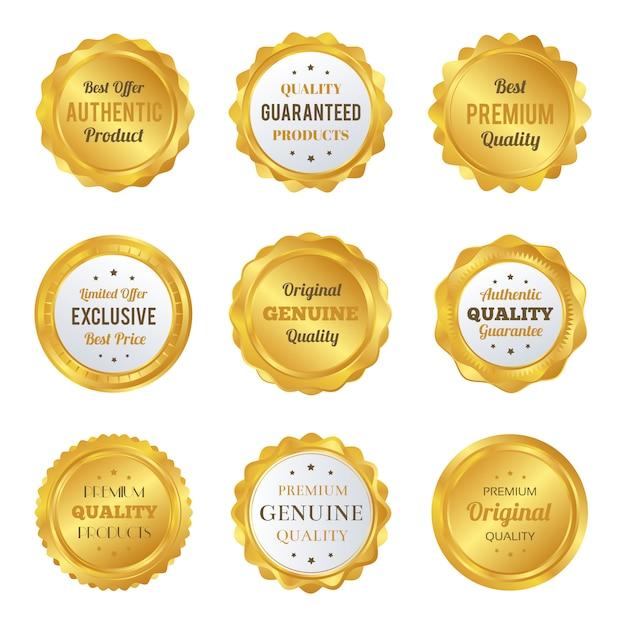 Роскошные золотые значки и наклейки премиум качества Premium векторы