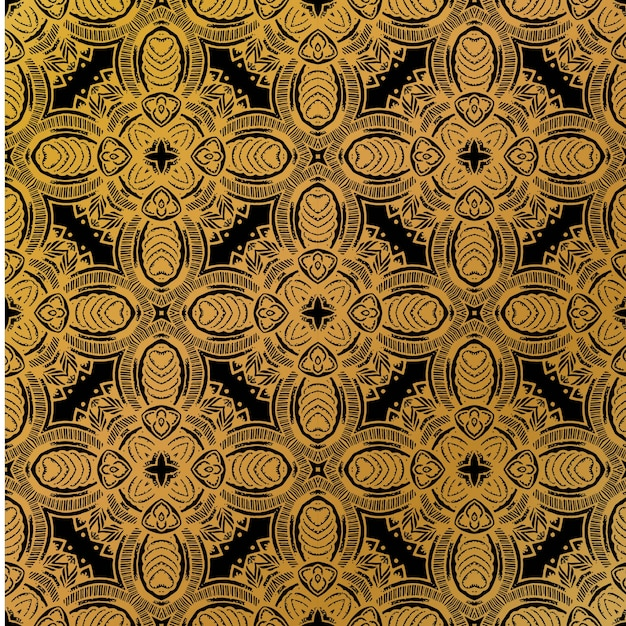 Luxury gold batik pattern background Premium Vector