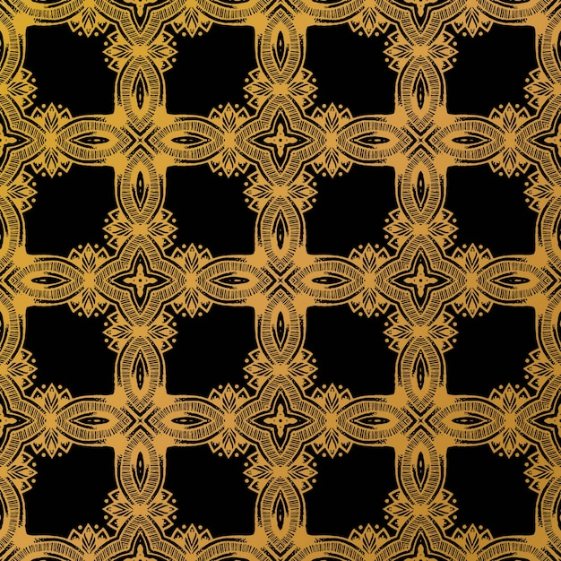 Luxury gold batik pattern background Premium Vector