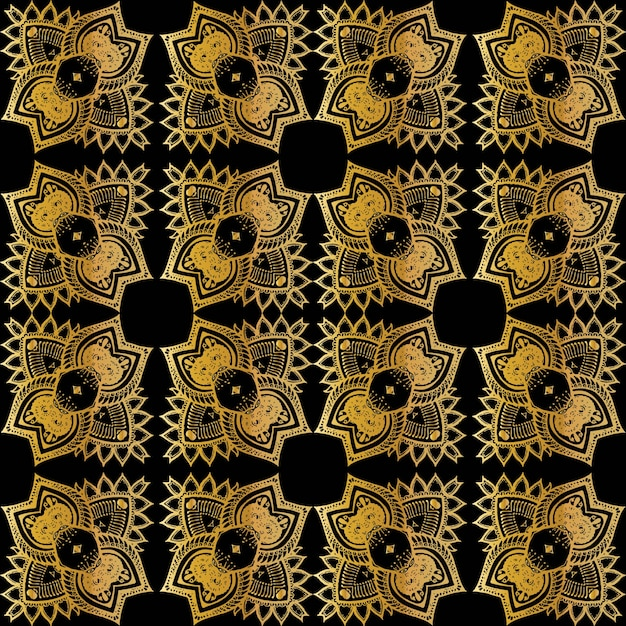 Luxury gold batik seamless pattern, batik indonesian is a technique of wax-resist dyeing applied to whole cloth Premium Vector
