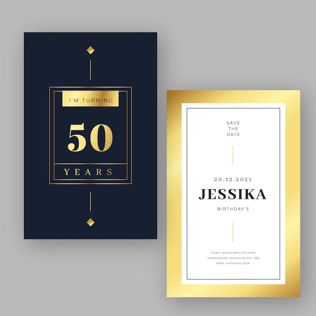Luxury gold birthday invitation template Free Vector