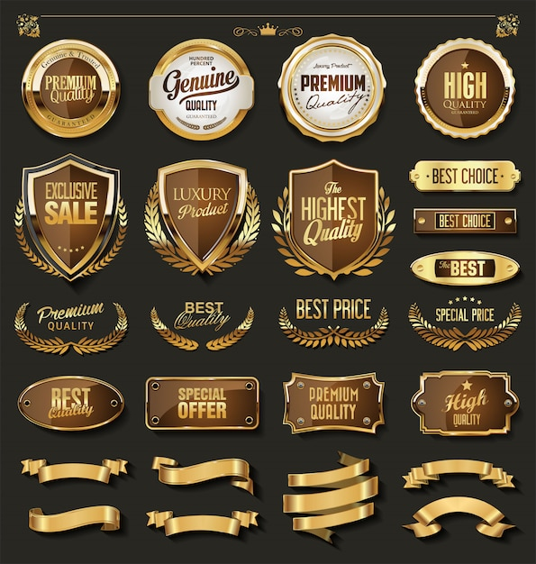 Luxury gold and black design elements collection Premium Vector