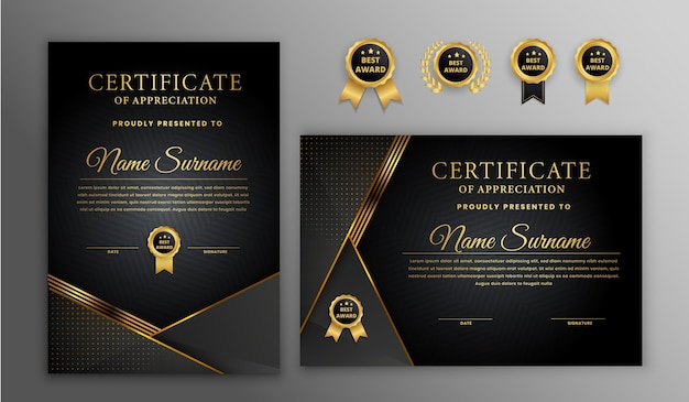 Luxury gold and black halftone certificate with gold badge and border template Premium Vector
