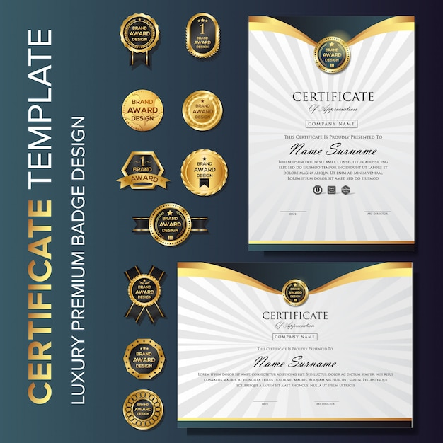 Luxury gold certificate background with badge Premium Vector