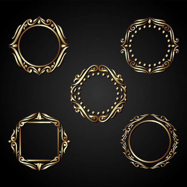 Luxury gold circle frame vector Premium Vector