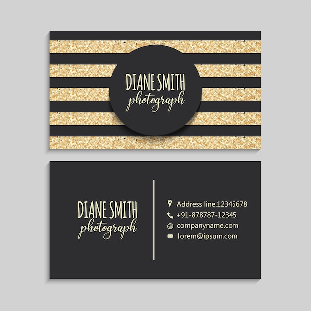 Luxury gold and dark business card Free Vector