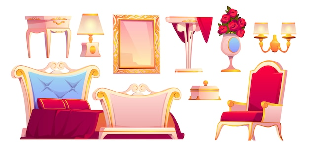 Luxury gold furniture for royal bedroom Free Vector