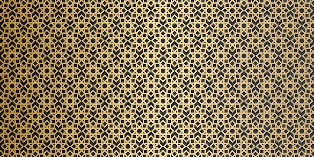 Роскошный золотой геометрический арабески бесшовные узор на темном фоне Premium векторы