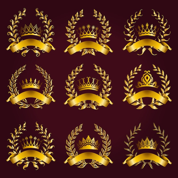 Luxury gold labels with laurel wreath Premium Vector