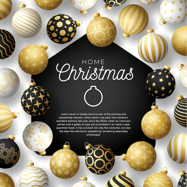 Luxury gold merry home christmas  card with funny  minimalist christmas balls. staying at home badge in quarantine. reaction. Premium Vector
