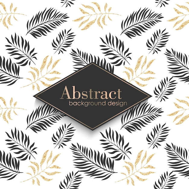 Luxury gold pattern template with tropical leaves. Free Vector