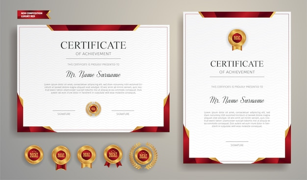 Luxury gold and red certificate with gold badge and border   template Premium Vector